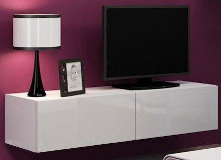 Victor zwevend tv-meubel tv-kast hoogglans wit 140 cm