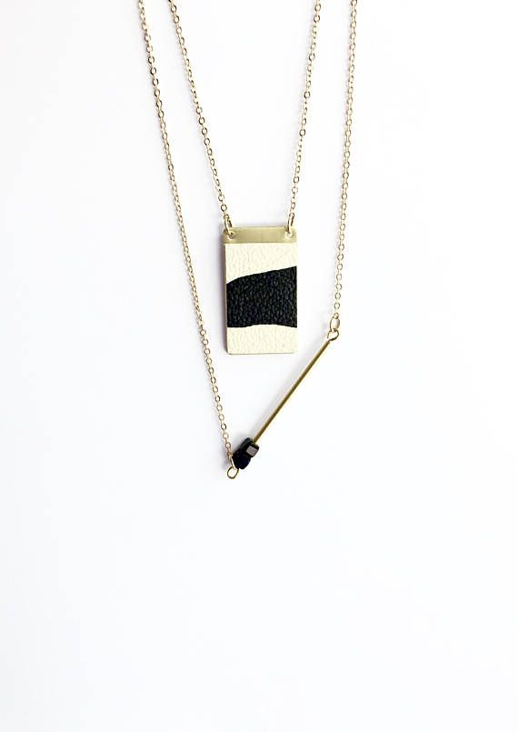 Hand Painted Leather and Brass Necklace  Black and Beige