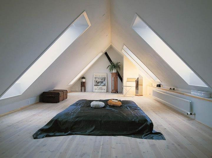 Minimal attic bedroom with futon bed