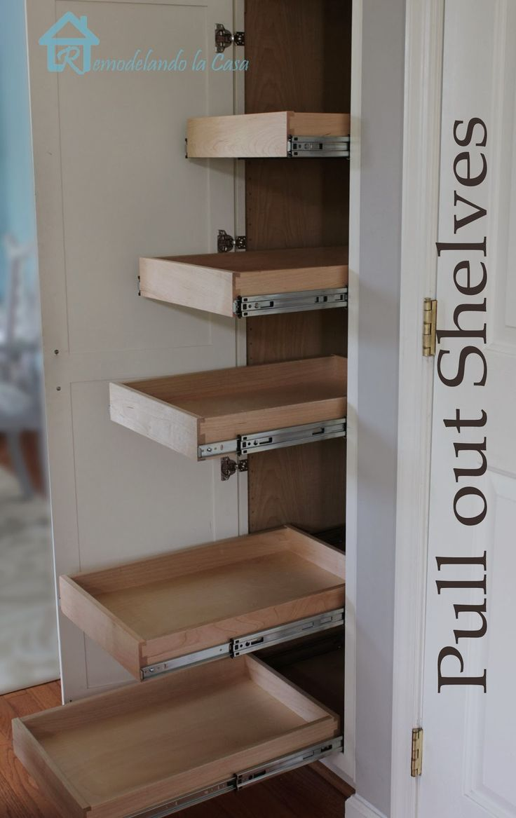 Kitchen Organization - Pull Out Shelves in Pantry. I so need this. DIY really practical information.