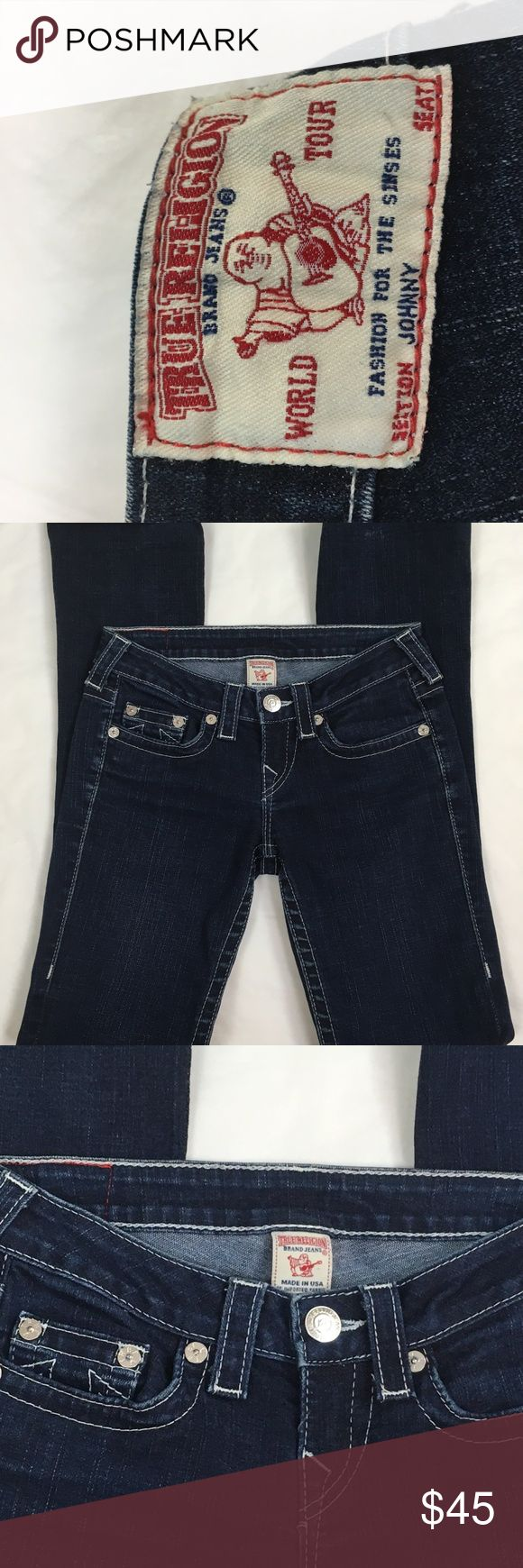 True-Religion-Section-Johnny-Dark Wash Size 26 Item: True Religion Section Johnny Seat.   Size: Women's 26  Style: Straight  Approximate Flat Lay Measurements:  Waist: 28 in.  Inseam: 32 in.  Outseam: 40 in  Front Rise: 7 in.  Leg opening: 14 in.  Please measurement your favorite pair of jeans to ensure proper fit. True Religion Jeans Straight Leg