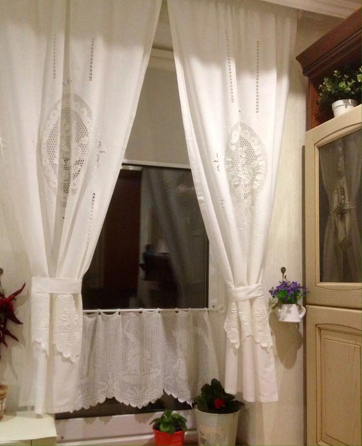 73 best шторы images on Pinterest Window treatments, Crochet - küche gardinen landhausstil