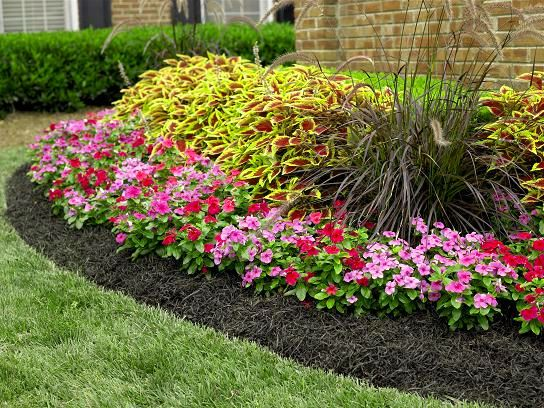 Flower garden mulch and rock flower garden with black for Flowers landscape gardening