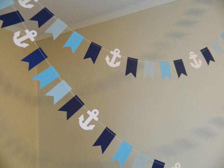 Ahoy Its a Boy Banner -Nautical Baby shower Decor- Chevron Stripes ...