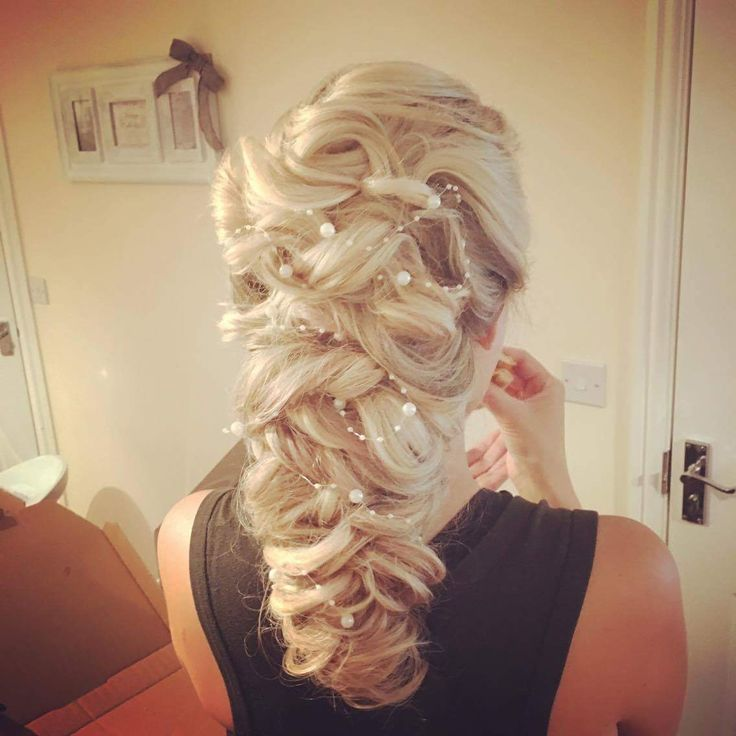 Classic curled bride hair style. More photos of this style on my board.