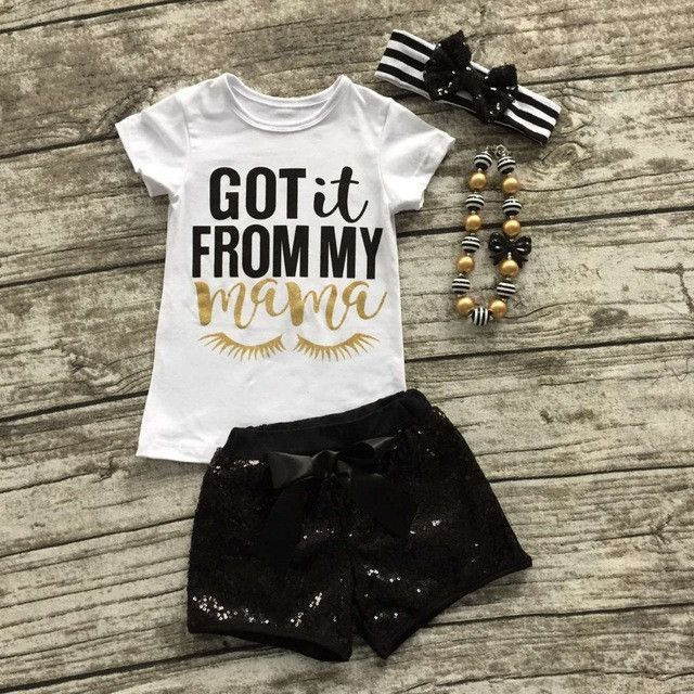 4 pc Sequins Shorts & Top Outfit