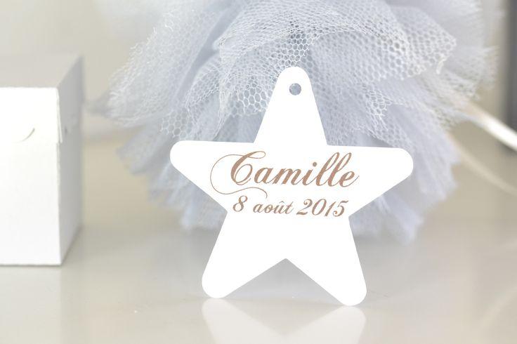 """lot de 12 étiquettes à dragées """"étoile"""" personnalisées - baptême communion mariage anniversaire baby shower naissance : Autres papeterie par de-petits-riens"""