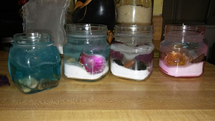 Gel wax candles. Scented. Sea shells. Dried Roses