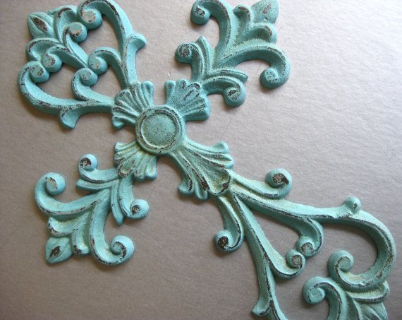 Rustic Aqua Cross Metal Cross Cross Wall Decor Aqua By Swede13