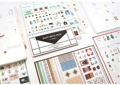 Iconic Daily Deco Pack 9 Sheet Diary Book Journal Stamp Sticker Set Korea EC3 | eBay