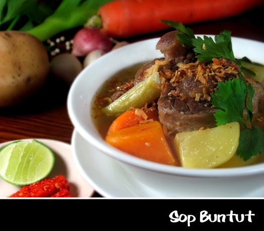 Sop Buntut~ (Ox-tail) served in clear soup (in which case the dish is called Sop Buntut/Ox-tail soup) or roasted alone then served with barbecue sauce.