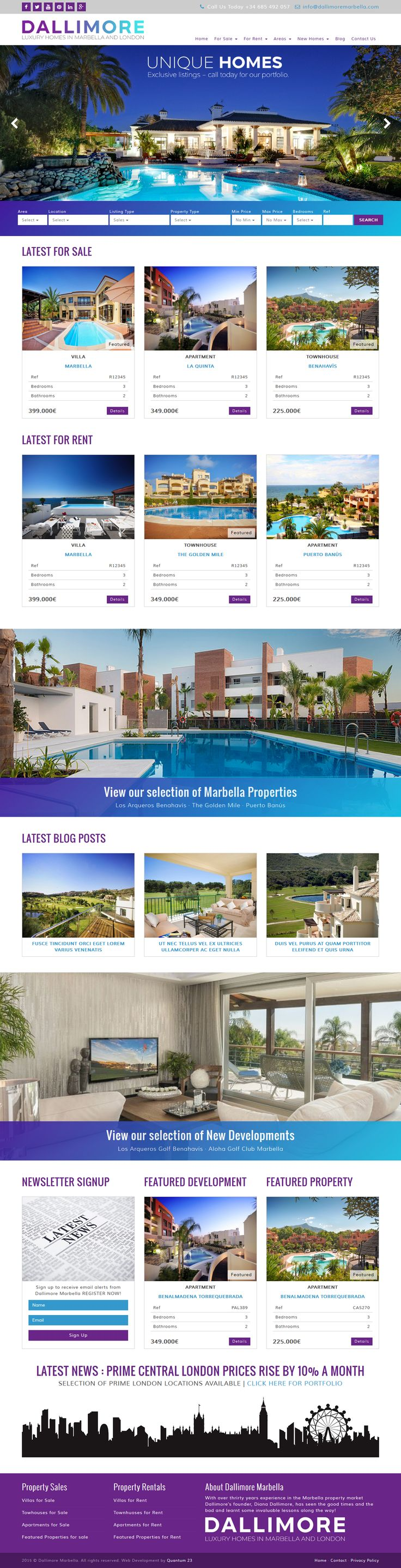 © Web Design by Alison Makin @Quantum23.  Dallimore Marbella - With over thrirty years experience in the Marbella property market Dallimore's founder, Diana Dallimore, has seen the good times and the bad and learnt some invaluable lessons along the way! #marbellaproperty #realestate #QRES #resalesonline