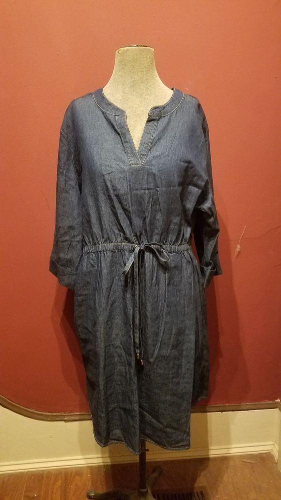 0cc011e29c44 #DenimDress Sauci Plus Dark Wash Blue Denim V-Neck 3/4 Sleeve Cute Casual  Jean Dress 2X NWT - Denim Dress $7.00 (0 Bids) End Date: Sund…