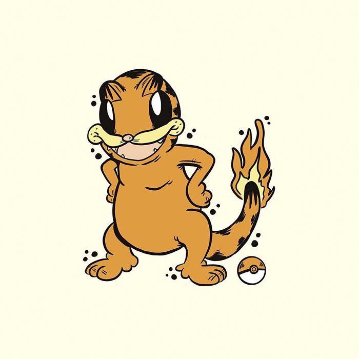 Garfémon, les Pokémon version Garfield : Salameche
