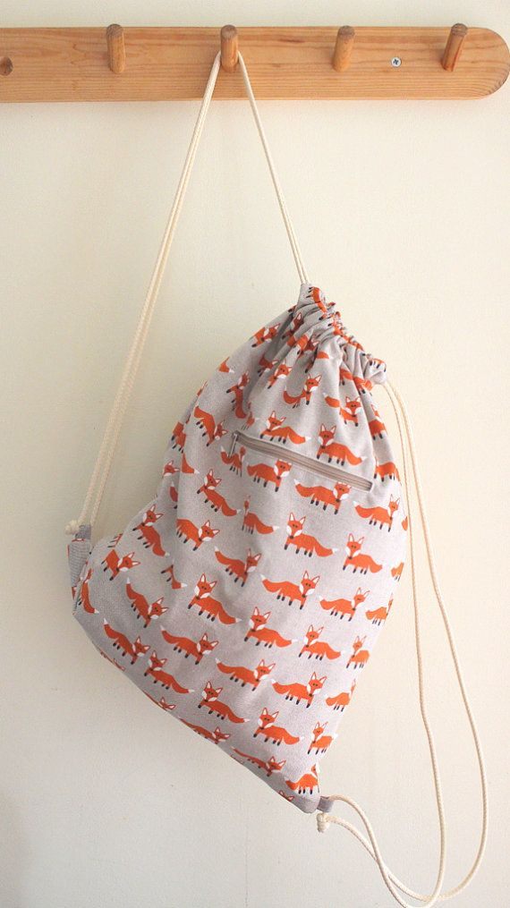 Drawstring bag  Standing fox by MiniwerkaToys on Etsy