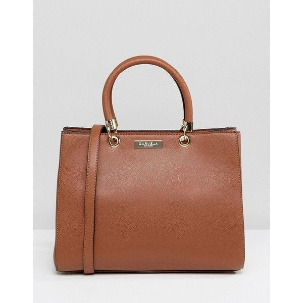 Carvela Darla Structured Tote Bag ($62) ❤ liked on Polyvore featuring bags, handbags, tote bags, tan, brown leather purse, tan leather tote bag, brown leather tote, leather tote purse and leather purses