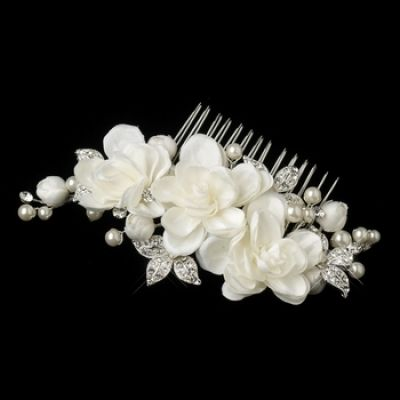 Bernadette Bridal Comb : Ivory Petals & Crystal