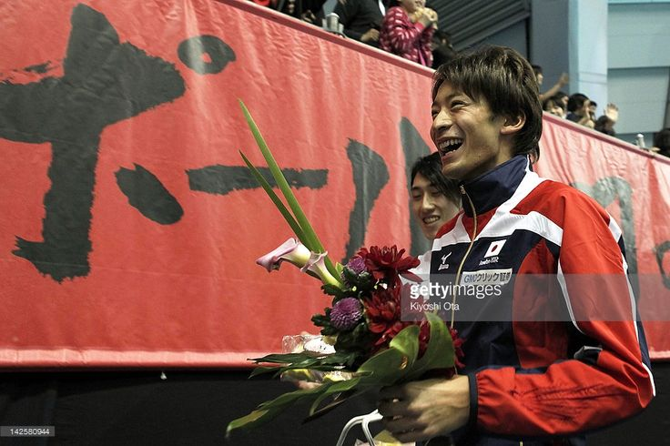 Ryosuke Irie, who has qualified for the London 2012 Olympic Games, attends a send-off ceremony after day seven of Japan Swim 2012 at Tokyo Tatsumi International Swimming Pool on April 8, 2012 in Tokyo, Japan.