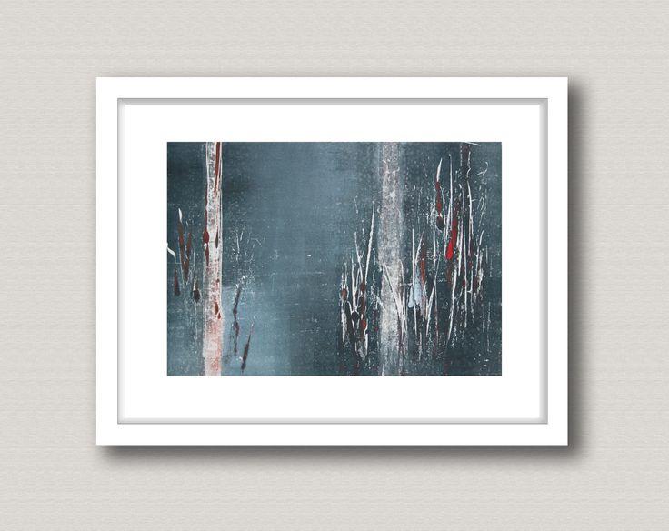 """Original Bild, Monotypie """"Meeting 6"""", Blattgröße 30 x 40 cm, Motivgröße 20 x 30 cm, Bäume, Wald, abstrakte Landschaft, Nacht von landschop auf Etsy"""