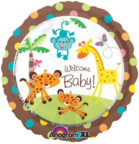Fisher price 18 welcome baby shower jungle animal party balloon giraffe monkey anagram http - Monkey balloons for baby shower ...