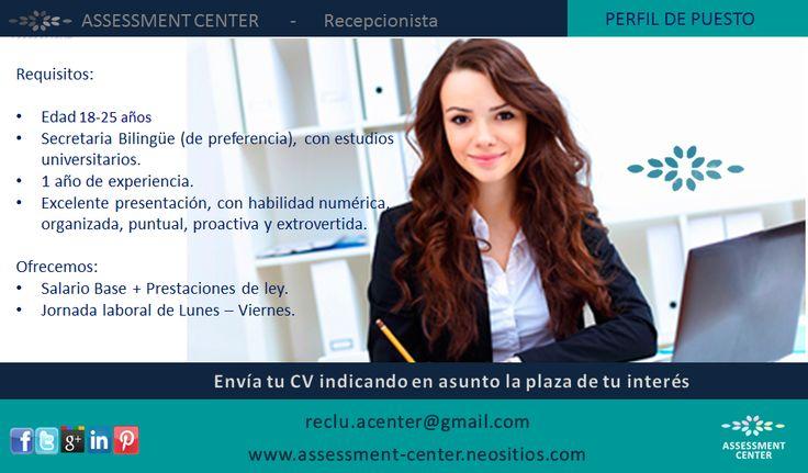 RECEPCIONISTA!!!!!!  Enviar su CV adjuntando fotografía reciente a reclu.acenter@gmail.com #PlazasVacantes #AssessmentCenter #Guatemala #Personal