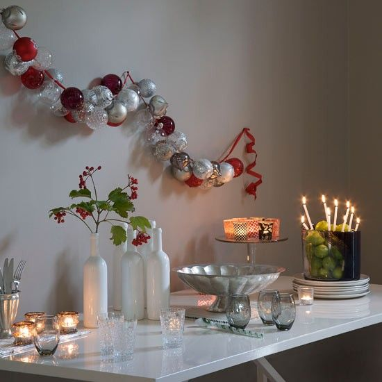 Baubles hung on wall  String together a line of baubles in silver and red for a strikingly original display.