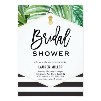 Tropical Chic Bridal Shower Invitation - rsvp gifts card cards diy unique special