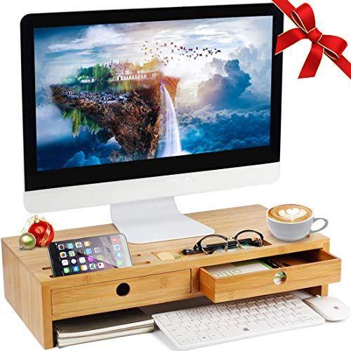 Buy Herdzi Monitor Stand Riser Drawers Desktop Laptop Stand Riser Keyboard Storage Space Home Office Use Online In 2020 Monitor Stand Laptop Stand Storage Spaces