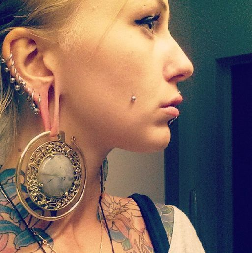 Diablo organics puju ear weights beautiful people in our for Plastic cheek piercing jewelry
