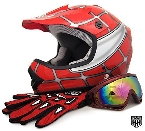 HHH DOT Youth & Kids Helmet for Dirtbike ATV Motocross MX Offroad Motorcyle Street bike Red Net, Red Flame + WITH FREE GLOVES AND GOOGLES (Small, Red Net)  Please measure for size. Each manufacturers sizing is different. SIZE CHART (Circumference of the largest part of the child's head, usually just above the eyebrows) in inches: Youth Small: 19.2 to 19.7 to, Youth Medium: 20.1 to 20.5, Youth Large: 20.9 to 21.5, Head shapes can affect how a helmet fits. The size chart is meant to be a...