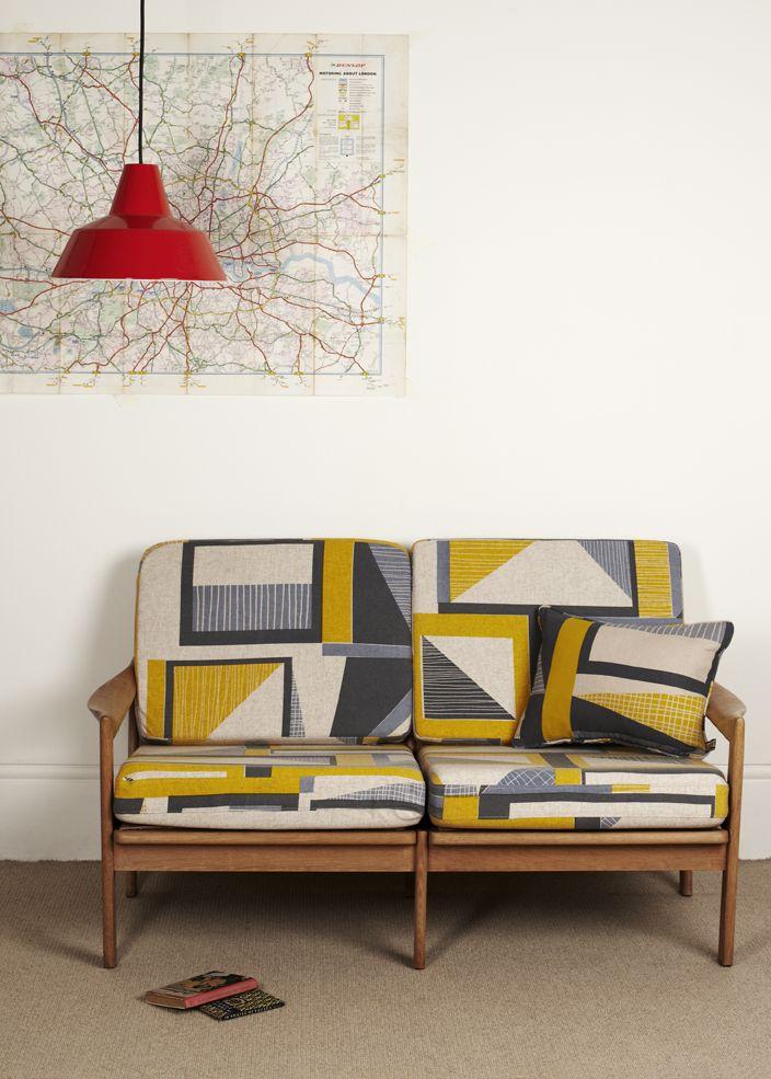 Tamasyn Gambell   Hand-printed Linen   Vintage 2-seated sofa