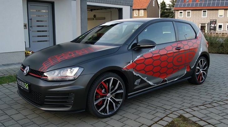 Vw Golf 7 Gti Gets Red Honeycomb Wrap In Germany Photo