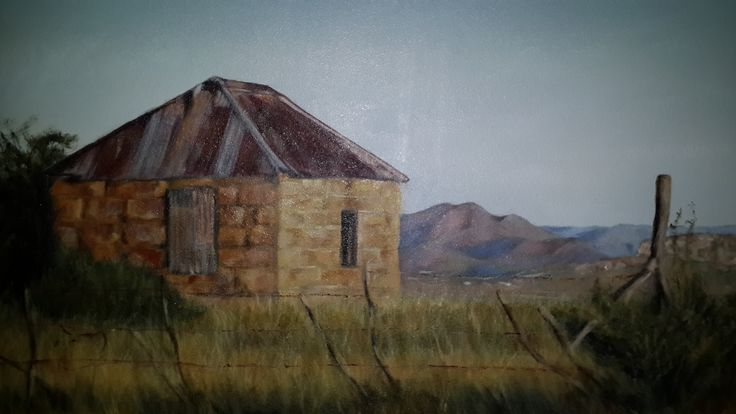 Typical Eastern Free State sandstone shed. Acrylic on canvas