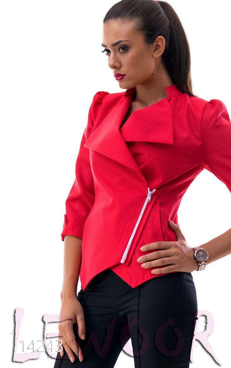 Пиджак из габардина на косой змейке - купить оптом и в розницу, интернет-магазин женской одежды lewoor.com