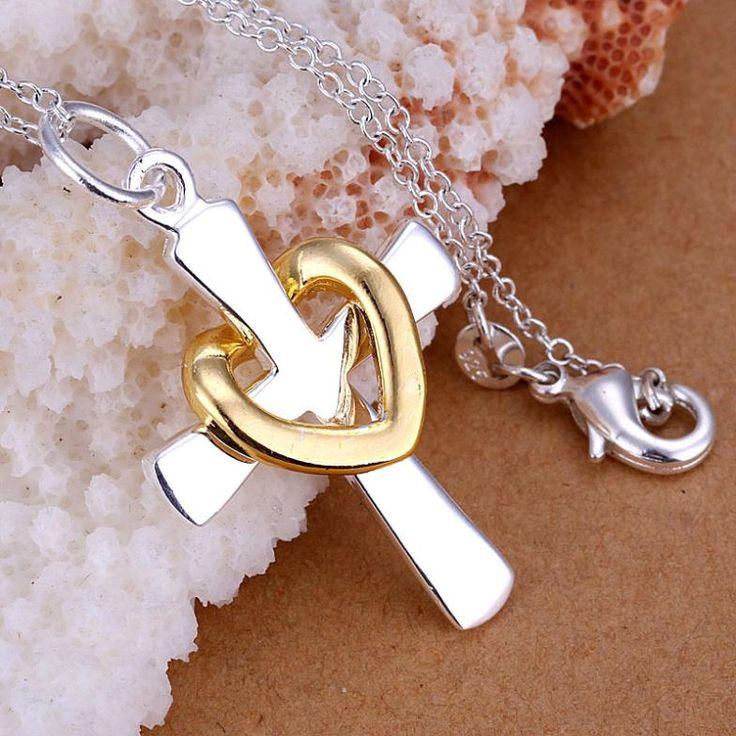 Серебряный позолоченный крест Ожерелье Золотое Сердце серебряный позолоченный кулон Ожерелья ювелирные изделия для женщин оптовая