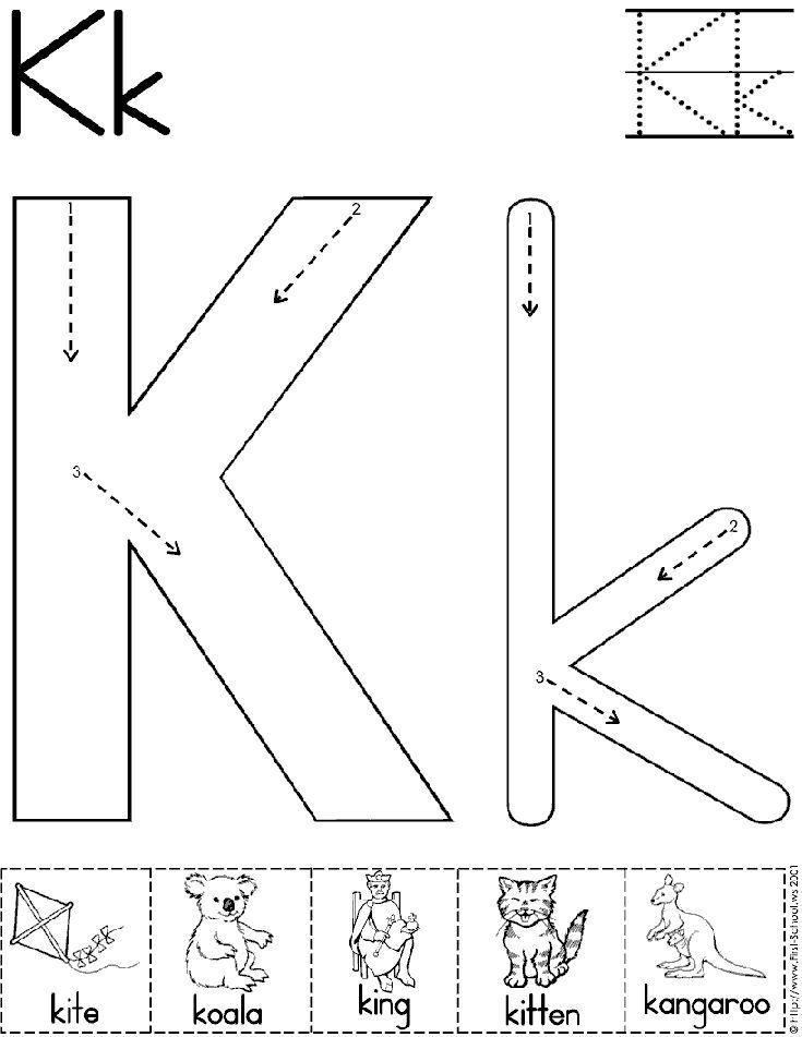 Alphabet Letter K Worksheet | Preschool Printable Activity | Standard Block Font