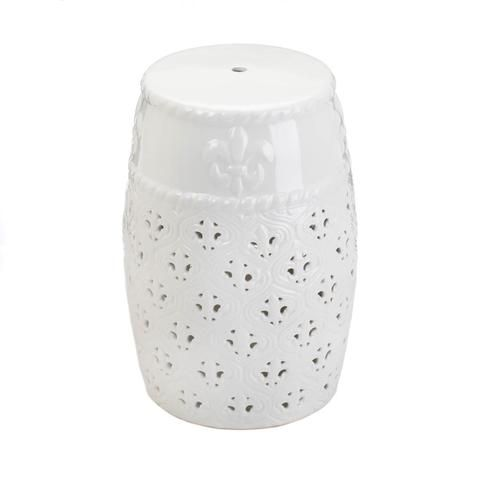 Fleur de Lis White Ceramic Barrel Seat or Foot Stool