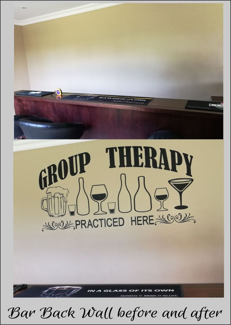 Before and after photos of vinyl decals applied to walls.