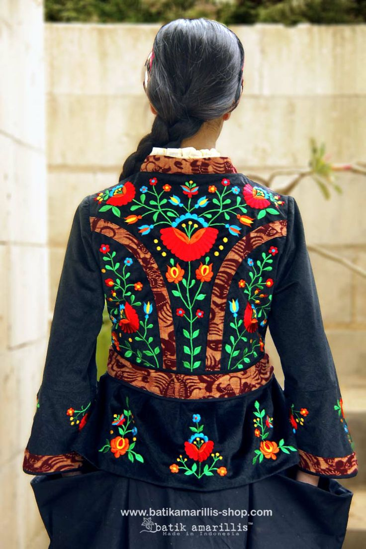 Batik Amarillis' Primavera#1 jacket Let's enjoy the perfect balance between classic and contemporary with this beautiful multi colored collection and enjoying the beauty of Indonesia's traditional textile with spectacular Hungarian folk embroidery