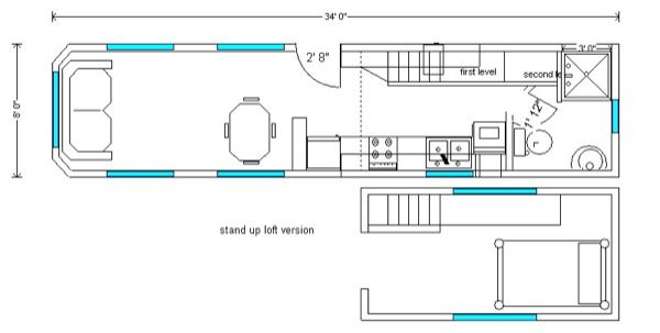 long tiny house triple axle floor plan