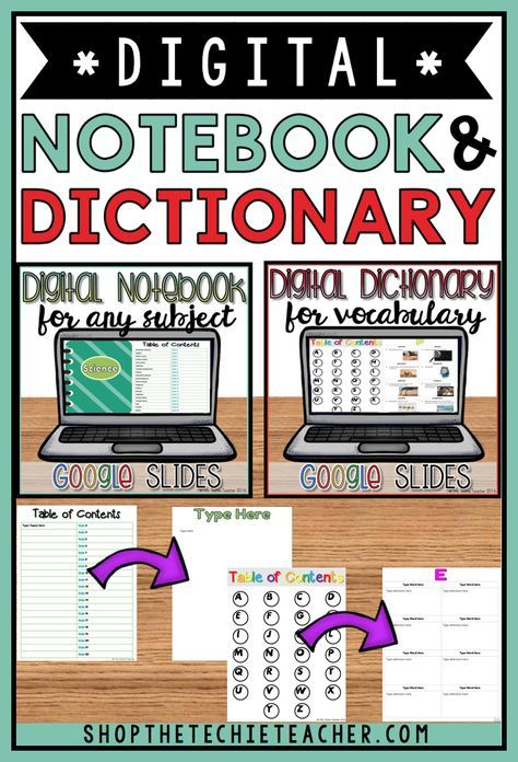 This bundle in contains my digital notebook and digital dictionary for vocabulary in Google Slides for a discounted price! Both are sold separately in my store (click on the links below to take a look at each item in more detail). Great for 1:1 classrooms or classrooms that have access to Chromebooks, laptops, computers, and/or ipads! Students will need to have their own Google Drive accounts. These items can easily be used to differentiate for any learning level!