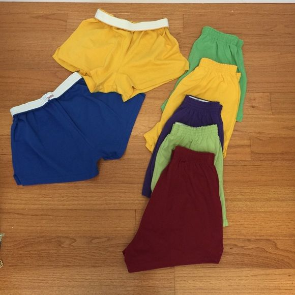 Soffee Shorts great condition some never worn Lot of 7 pairs of size large Soffee shorts 2 gold, 2 green, 1 maroon, 1 purple, 1 blue Soffe Shorts