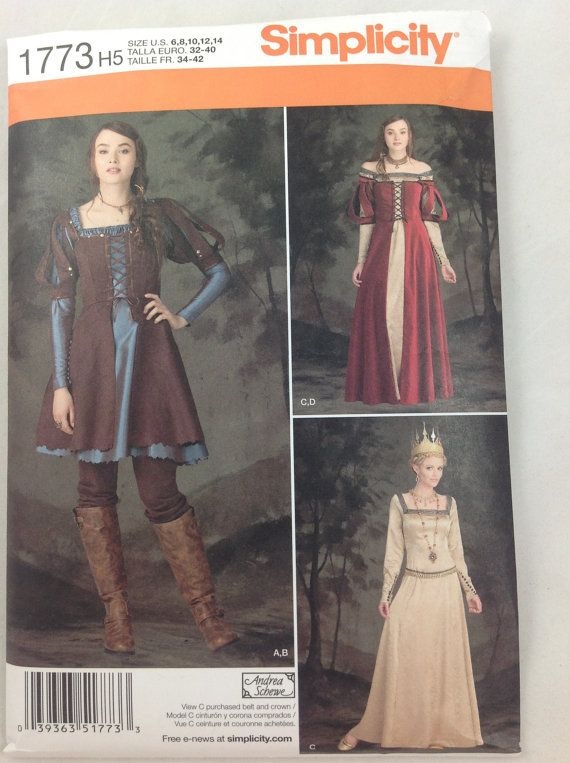Simplicity 1773 costume pattern  Renaissance Steampunk Medieval Goth Snow White & Huntsman Fairy Tale  sz 6-14 OR sz 14-22 NEW