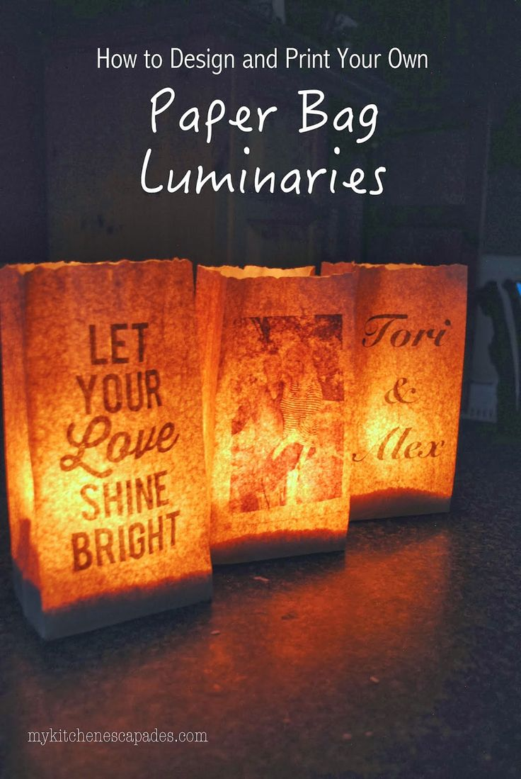 Make your own luminaries with this tutorial. Print them on paper bags from your printer at home and perfect for a party or wedding decor