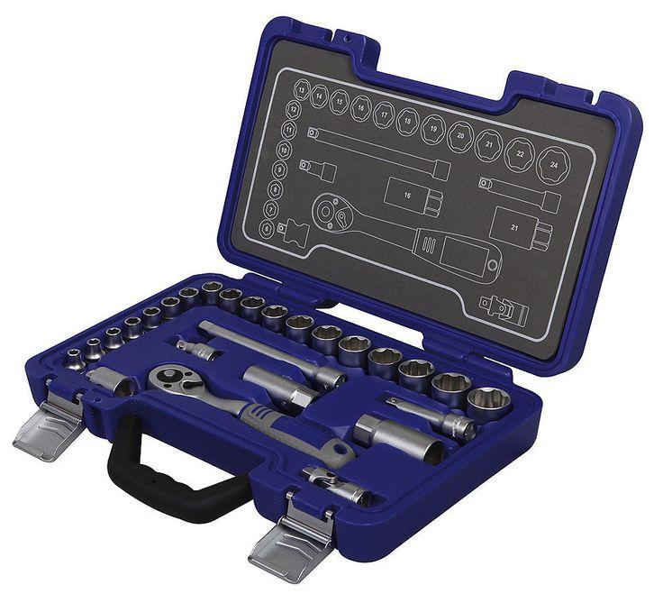 Steckschlüsselsatz »MSS-26-3/8«   Dieser Steckschlüsselsatz hat eine außerordendlich gute Qualität.   -Knarre ist fein gezahnt,beidseitig verschraubt.  -Knopf in der Mitte zum lösen des Steckschlüssels.  - rechts/links Umschalter an guter Position.  - Die Steckschlüssel greifen auf der Vollfläche der Schraube und nicht an den empfindlicheren Kanten.  - Kasten übersichtlich, Metall Verschlüsse, alles gut befestigt - Qualität und Preis top - Otto.de für ca 65€     Euer Meistereder