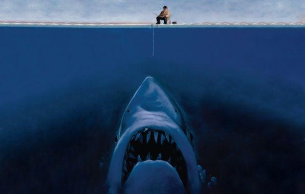 Обои на мобильный телефон акула, рыбак, рисунок, раздел - скачать