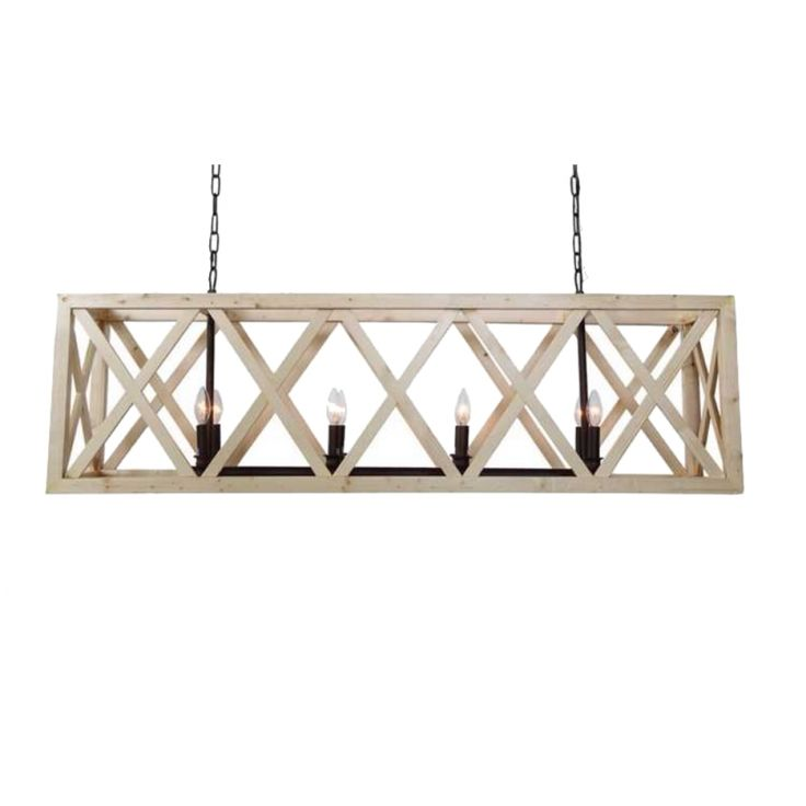 Large Criss Cross Wooden Rectangular Chandelier American or French Country Style