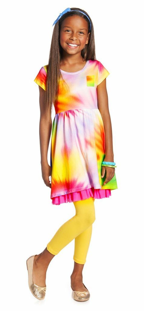 TIE-DYE GIRL OUTFIT. This color packed outfit will brighten up any room! Our tie-dye dress and yellow leggings pair together for an all occasion outfit. @fabkids #FabKidsSunnyDaysSweeps