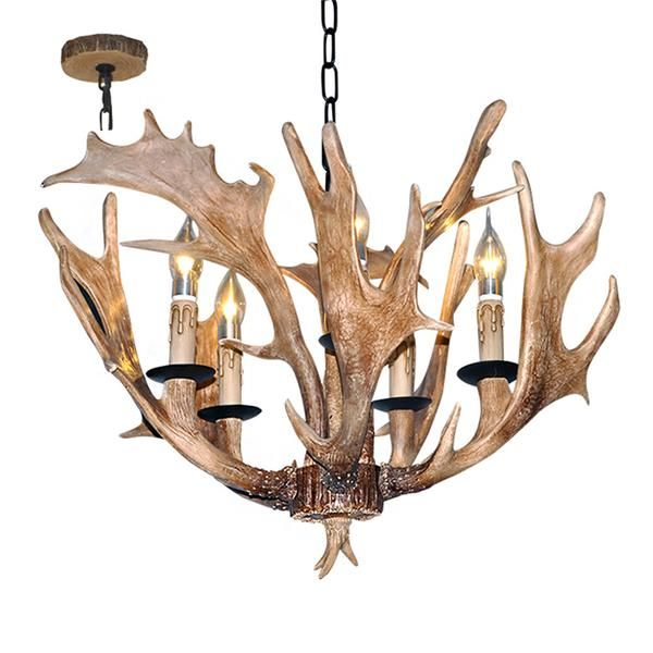 LNC Rustic Resin Deer Horn Antler  Chandeliers,5 Candle Lights(Bulbs Not Included)