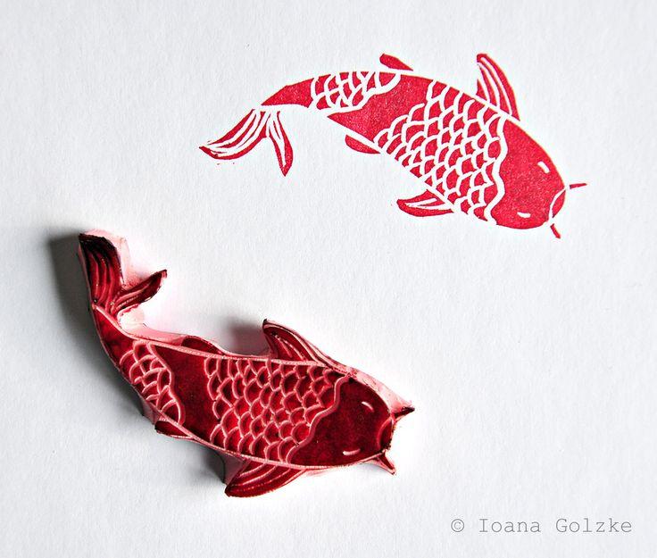 Stempel mit Japan Muster Koi Karpfen Fisch rot